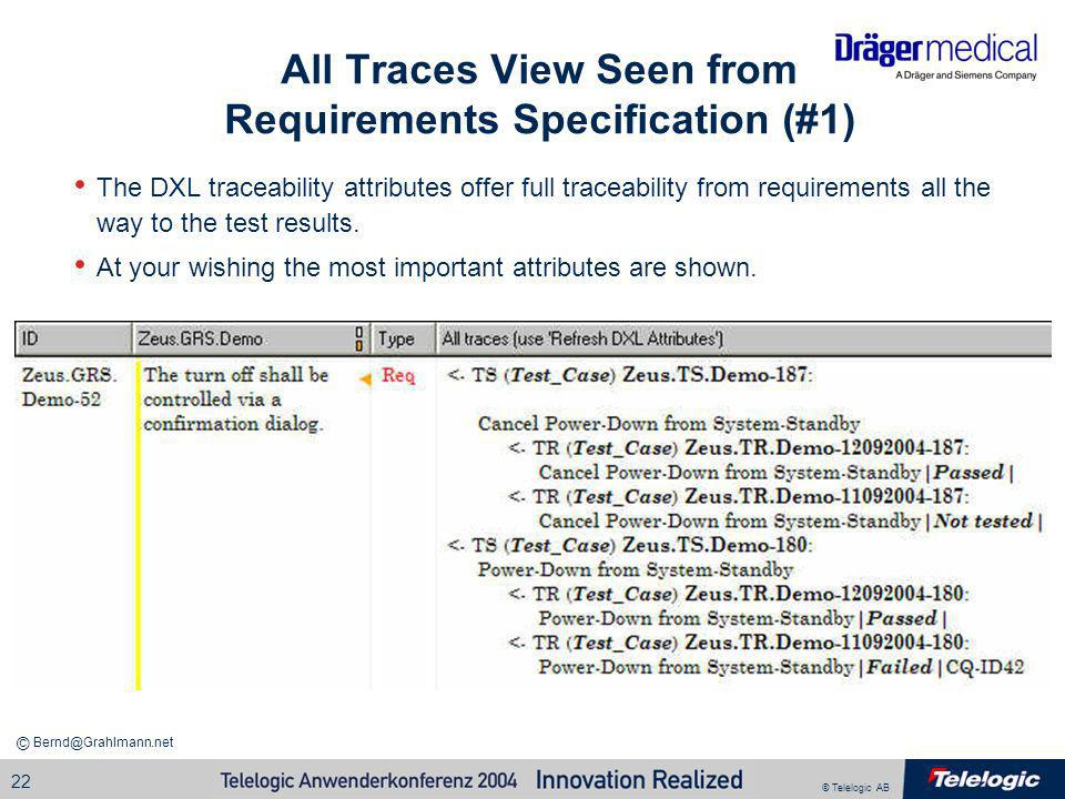 All Traces View Seen from Requirements Specification (#1)