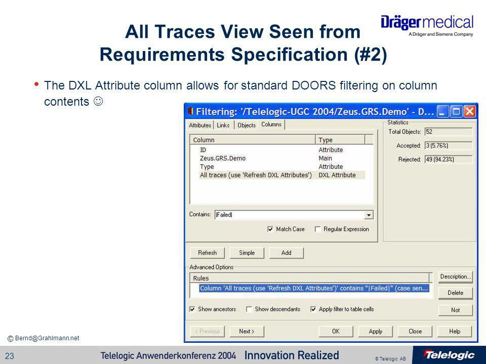 All Traces View Seen from Requirements Specification (#2)