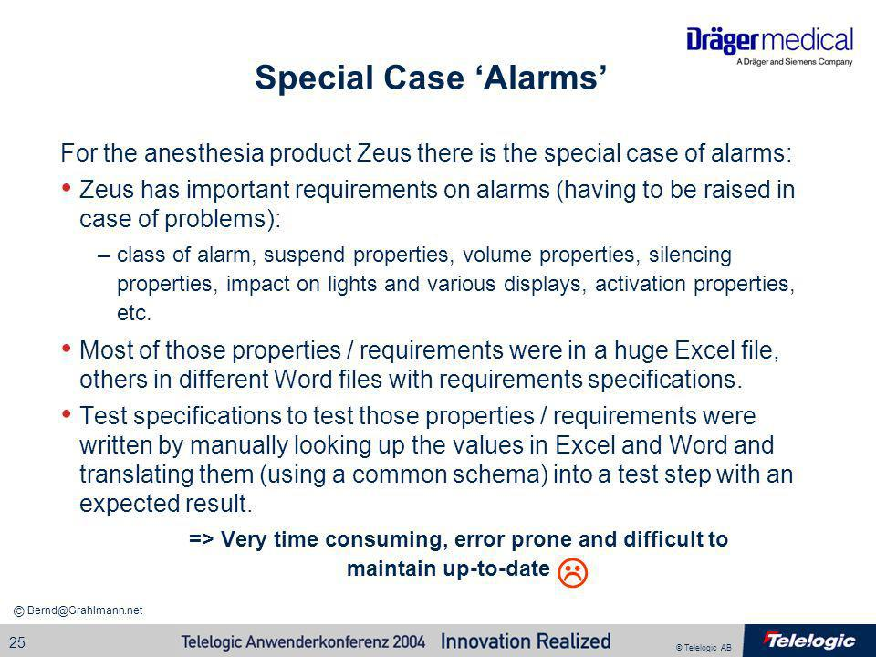 Special Case 'Alarms' For the anesthesia product Zeus there is the special case of alarms: