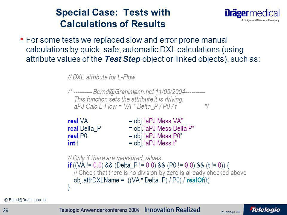 Special Case: Tests with Calculations of Results