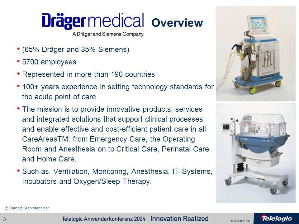 Overview (65% Dräger and 35% Siemens) 5700 employees