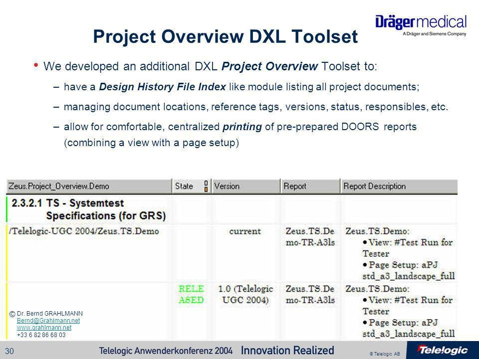 Project Overview DXL Toolset