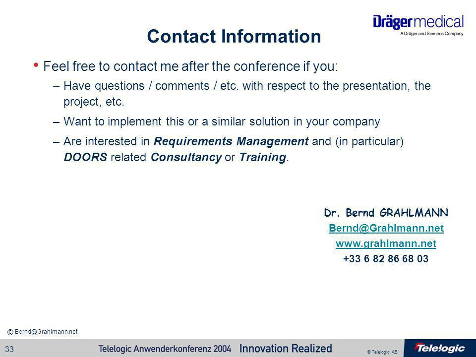 Contact InformationFeel free to contact me after the conference if you: