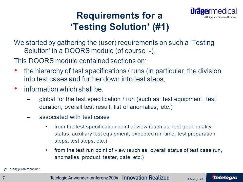 Requirements for a 'Testing Solution' (#1)