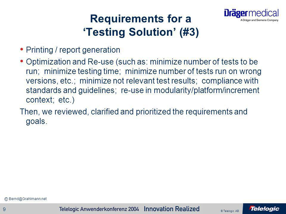 Requirements for a 'Testing Solution' (#3)