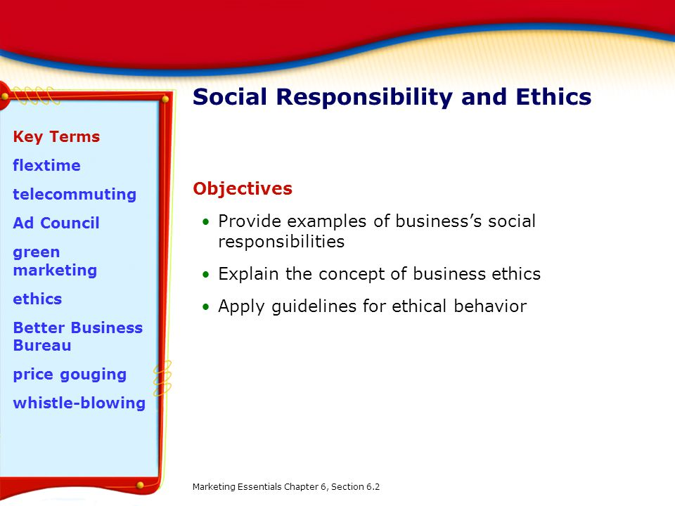 Ethical issues and social responsibility