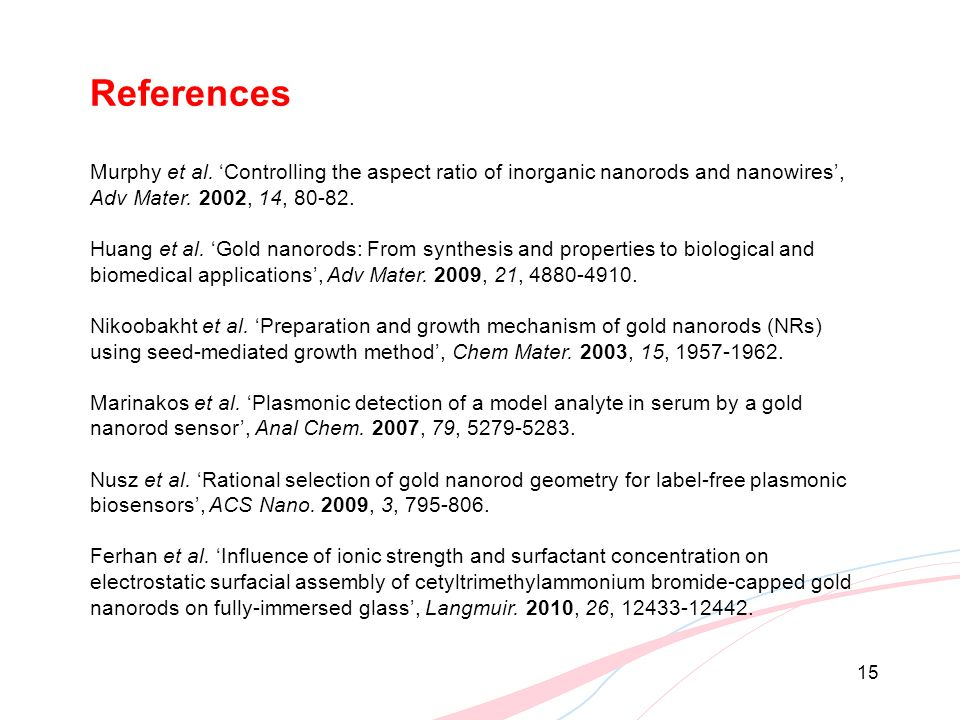 References Murphy et al. 'Controlling the aspect ratio of inorganic nanorods and nanowires', Adv Mater. 2002, 14, 80-82.
