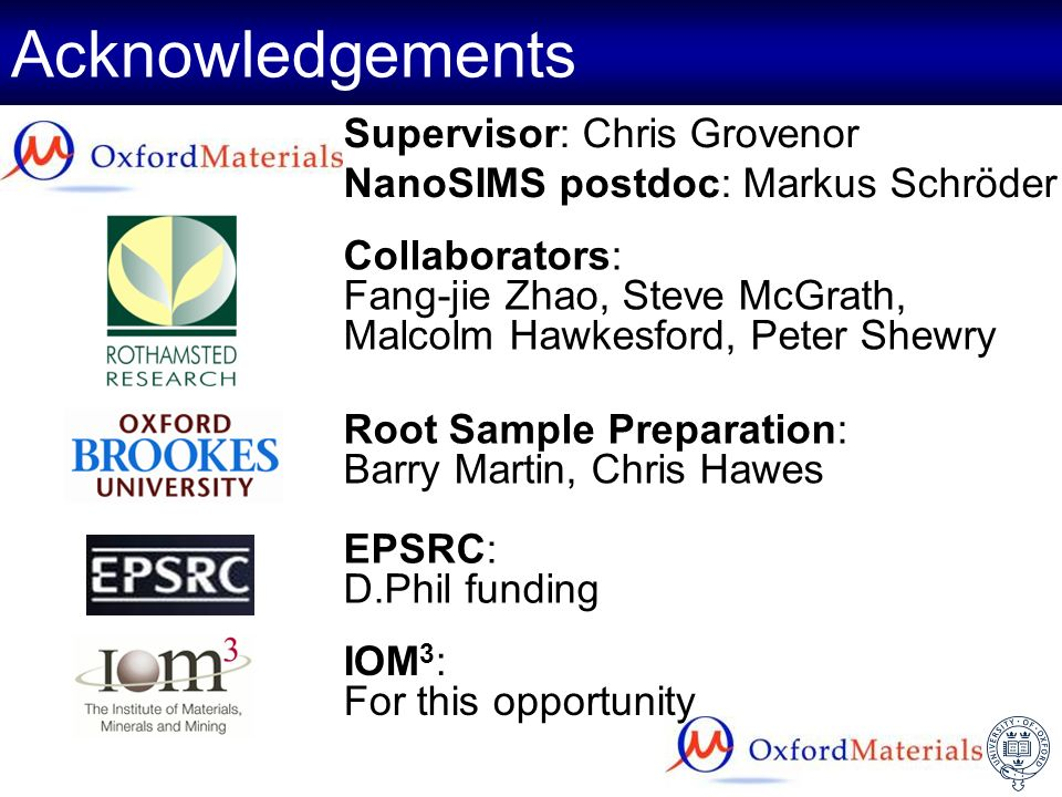 Acknowledgements Supervisor: Chris Grovenor