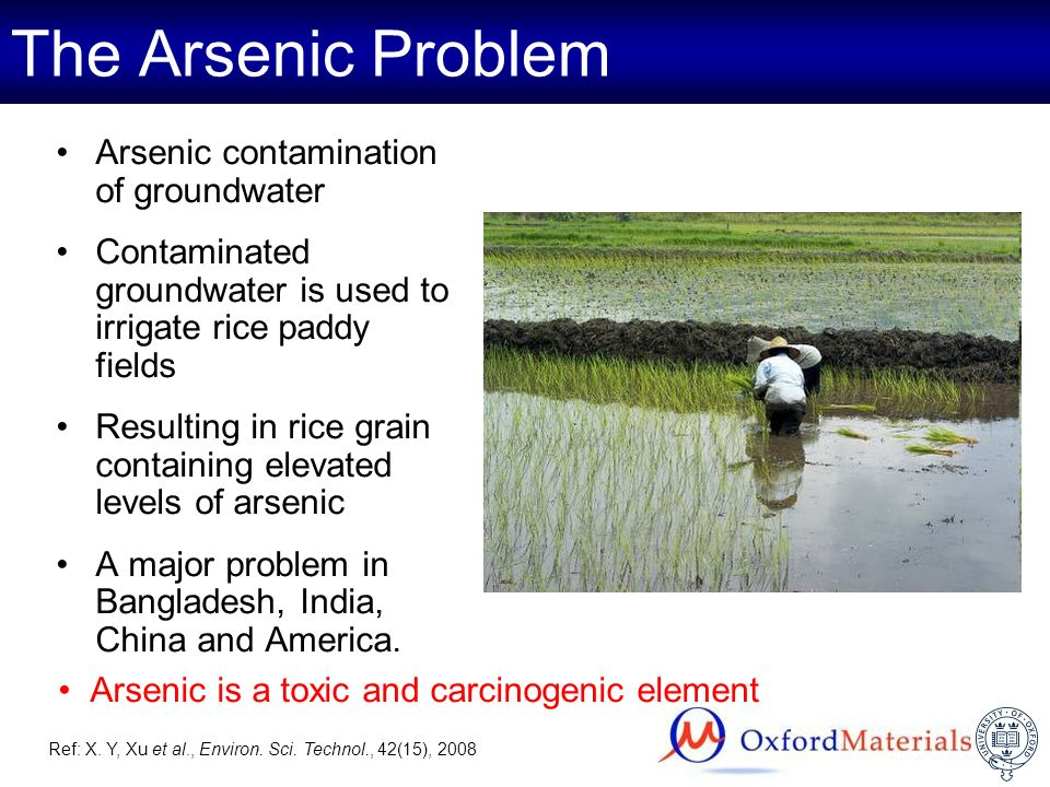 Arsenic is a toxic and carcinogenic element