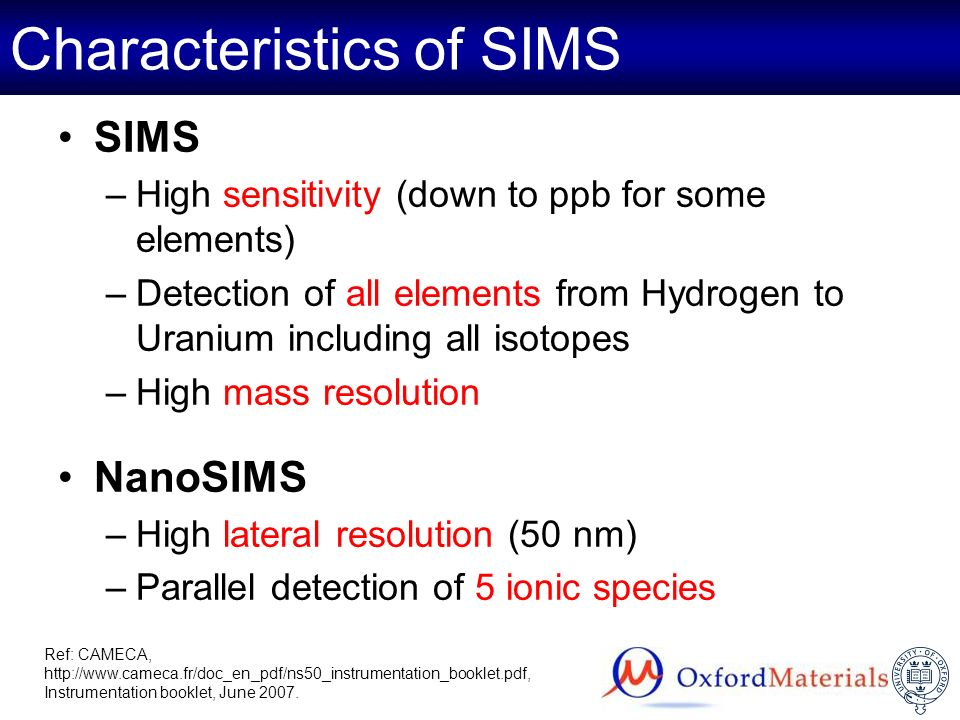 Characteristics of SIMS
