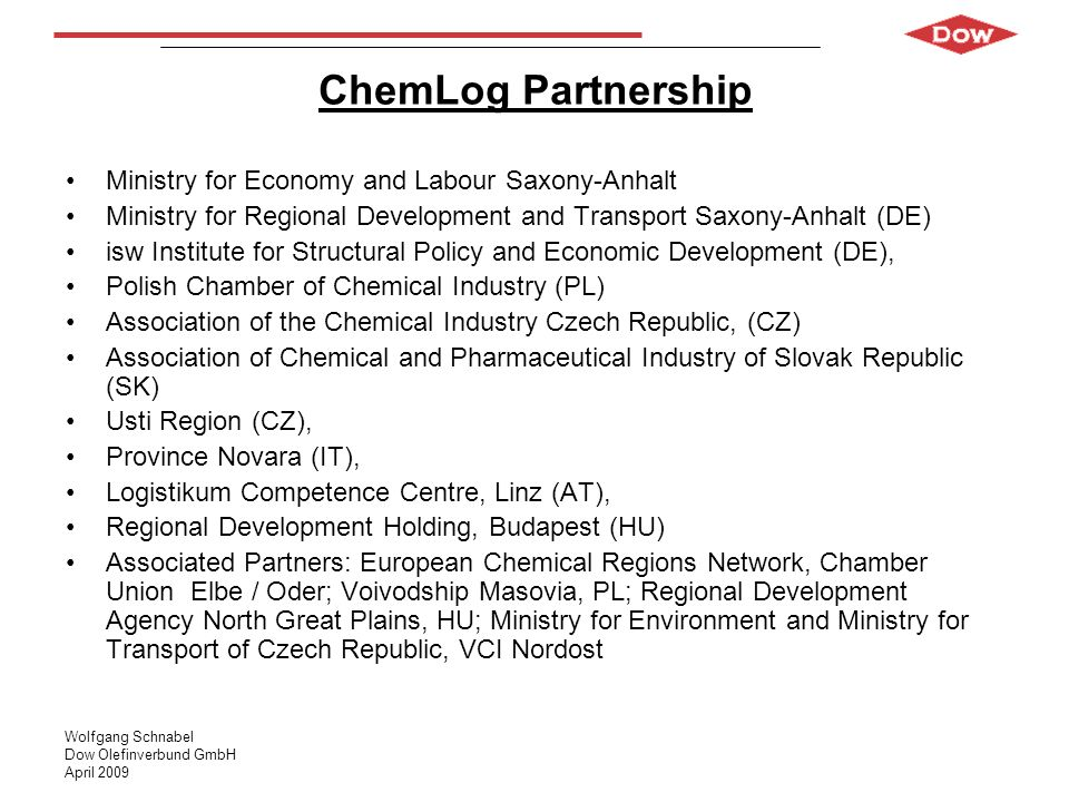 ChemLog Partnership Ministry for Economy and Labour Saxony-Anhalt
