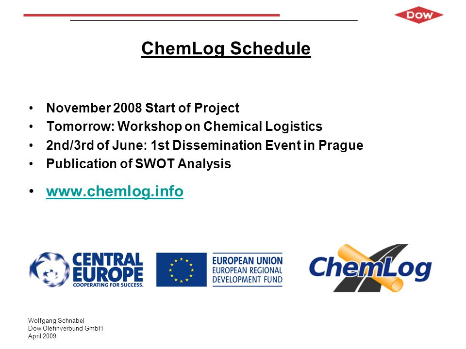 ChemLog Schedule www.chemlog.info November 2008 Start of Project