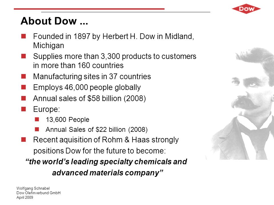 About Dow ... Founded in 1897 by Herbert H. Dow in Midland, Michigan