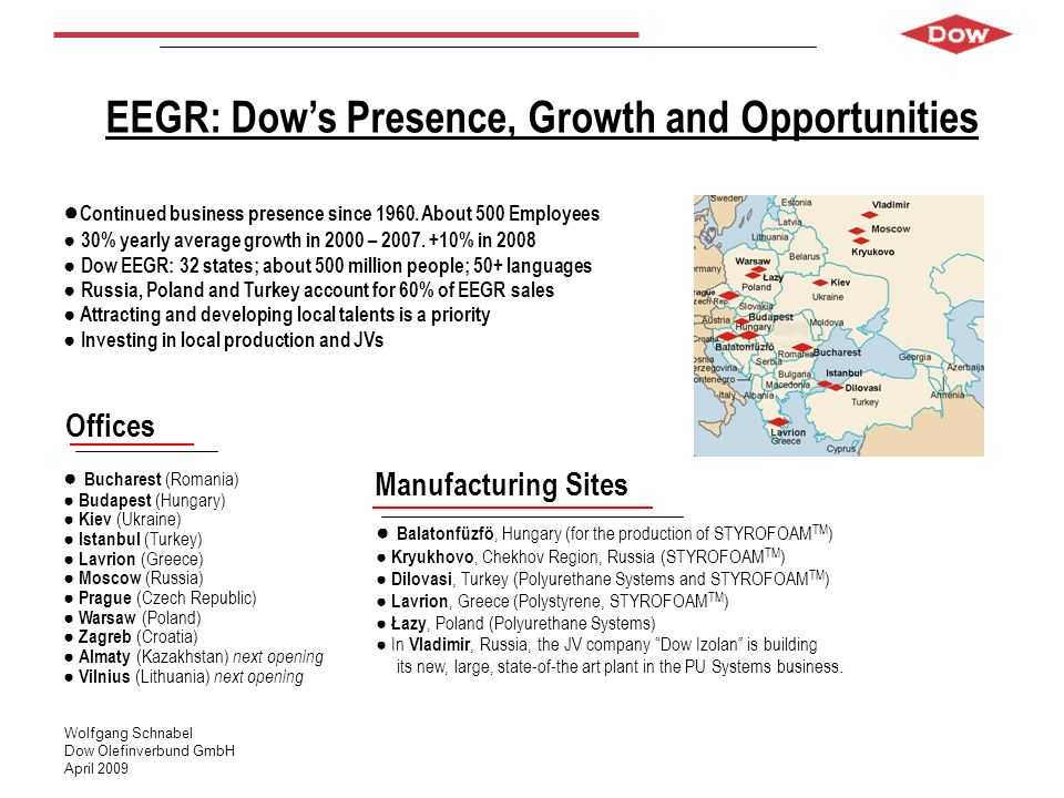 EEGR: Dow's Presence, Growth and Opportunities