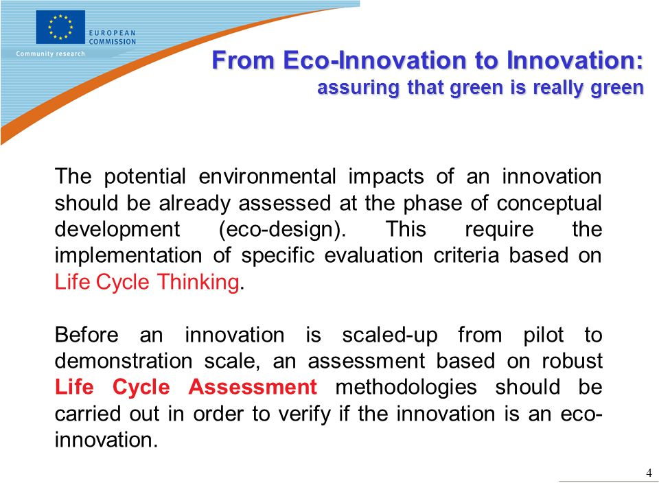 From Eco-Innovation to Innovation: assuring that green is really green