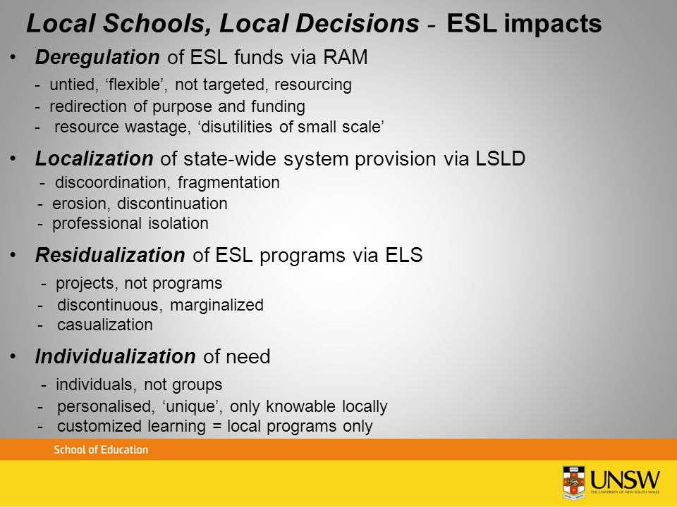 Local Schools, Local Decisions – ESL impacts