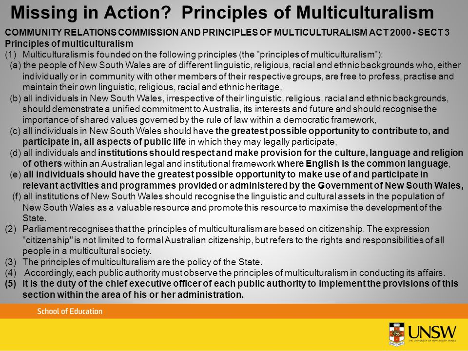 Missing in Action Principles of Multiculturalism