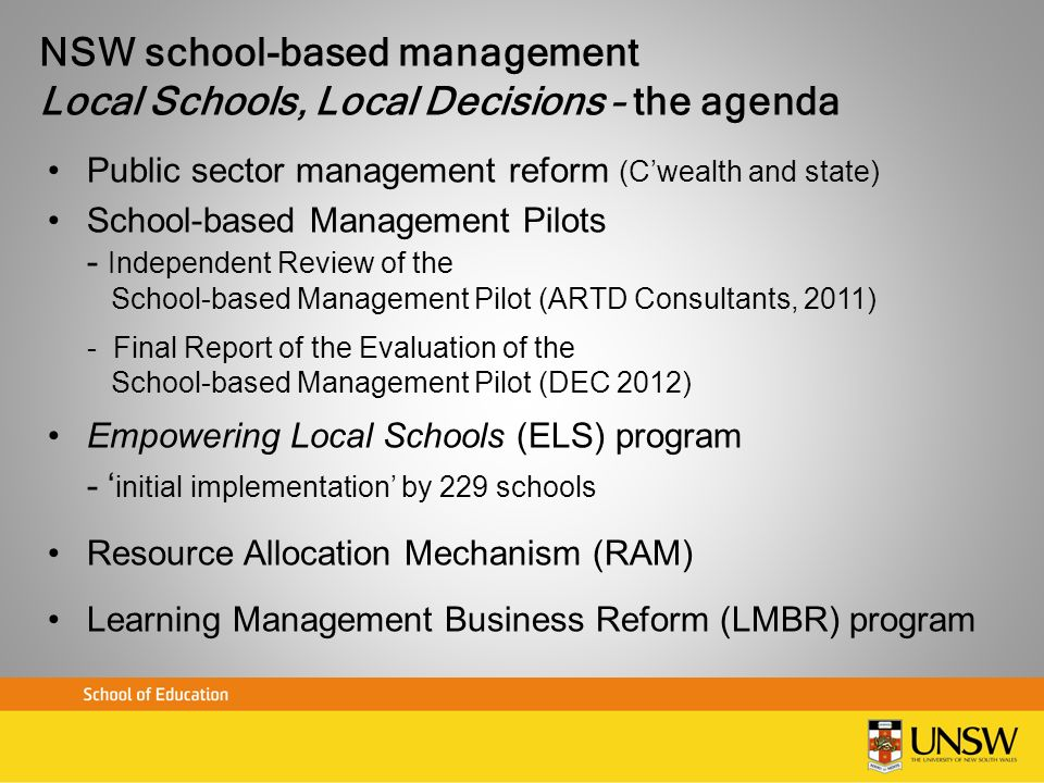NSW school-based management Local Schools, Local Decisions – the agenda