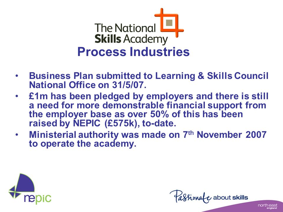 Process Industries Business Plan submitted to Learning & Skills Council National Office on 31/5/07.