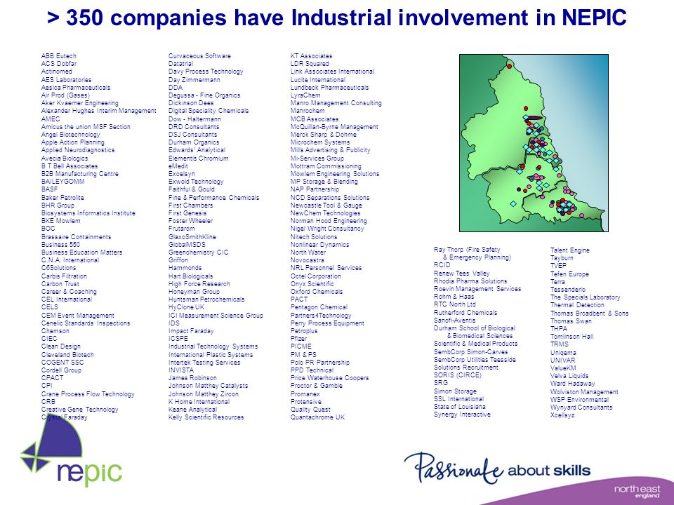 > 350 companies have Industrial involvement in NEPIC
