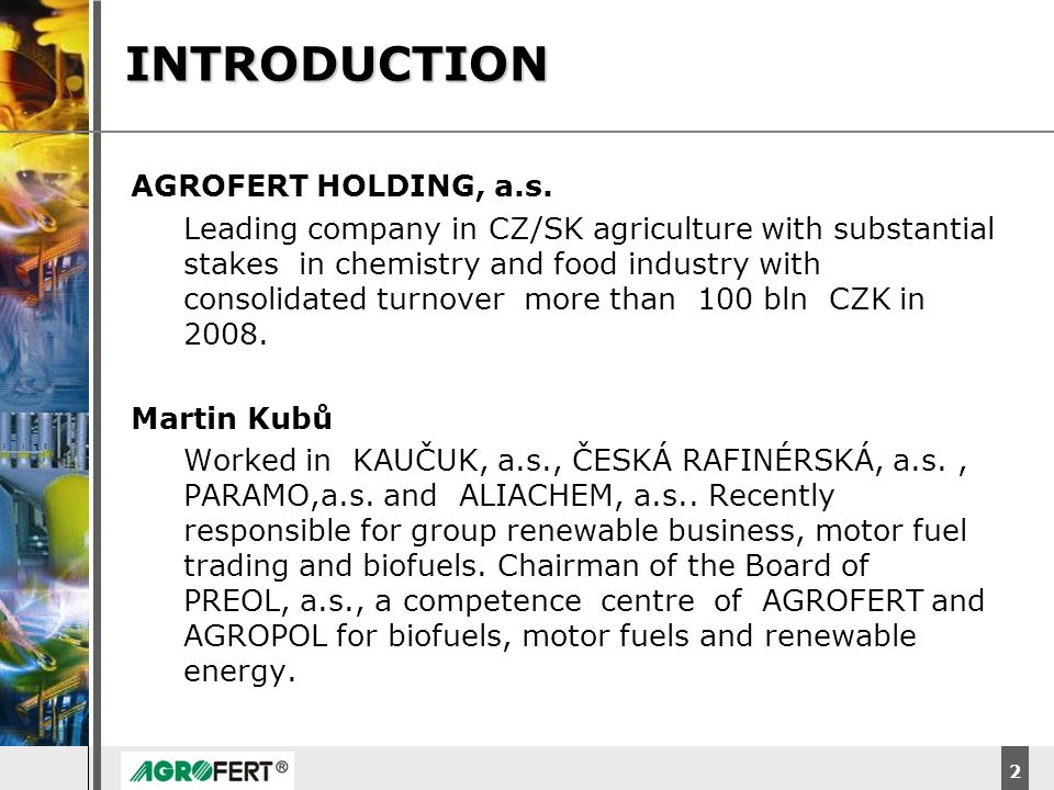 INTRODUCTION AGROFERT HOLDING, a.s.