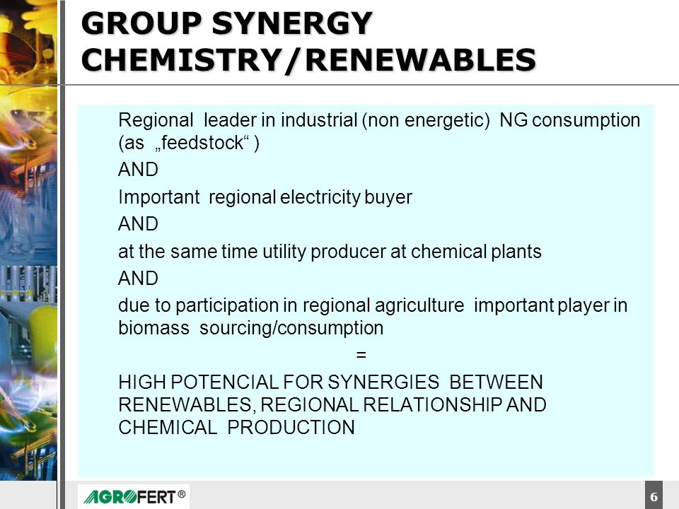 GROUP SYNERGY CHEMISTRY/RENEWABLES