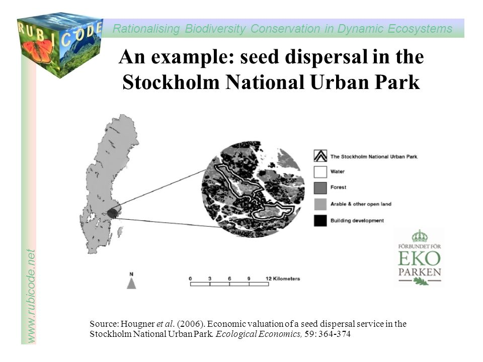 An example: seed dispersal in the Stockholm National Urban Park