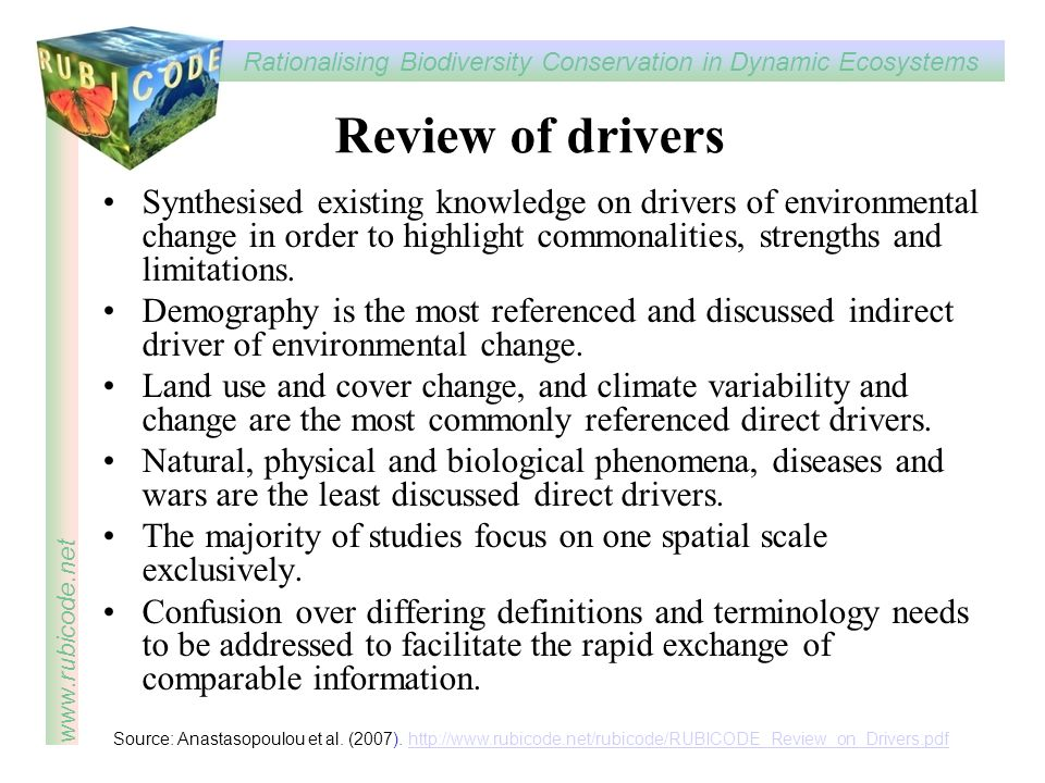 Review of drivers Synthesised existing knowledge on drivers of environmental change in order to highlight commonalities, strengths and limitations.