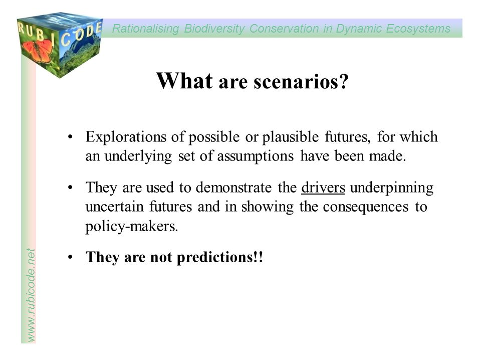 What are scenarios Explorations of possible or plausible futures, for which an underlying set of assumptions have been made.