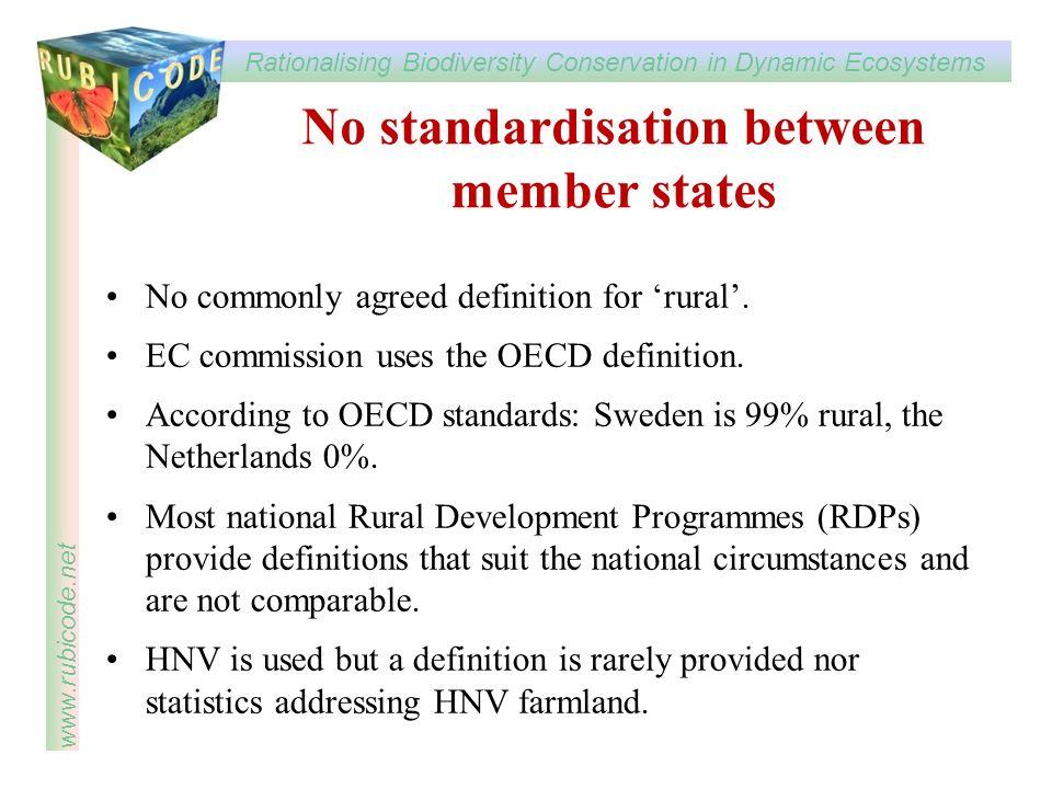 No standardisation between member states