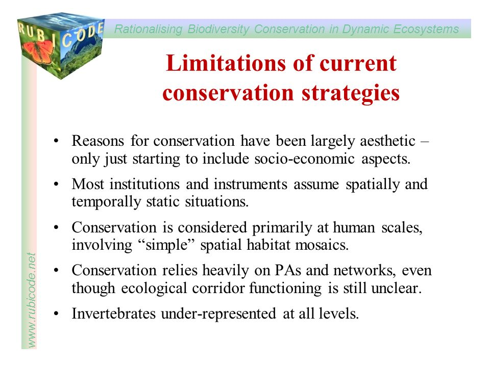 Limitations of current conservation strategies