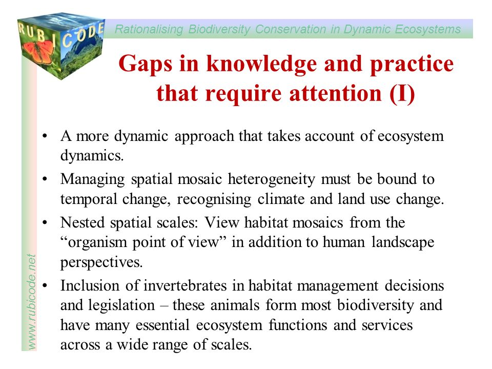 Gaps in knowledge and practice that require attention (I)
