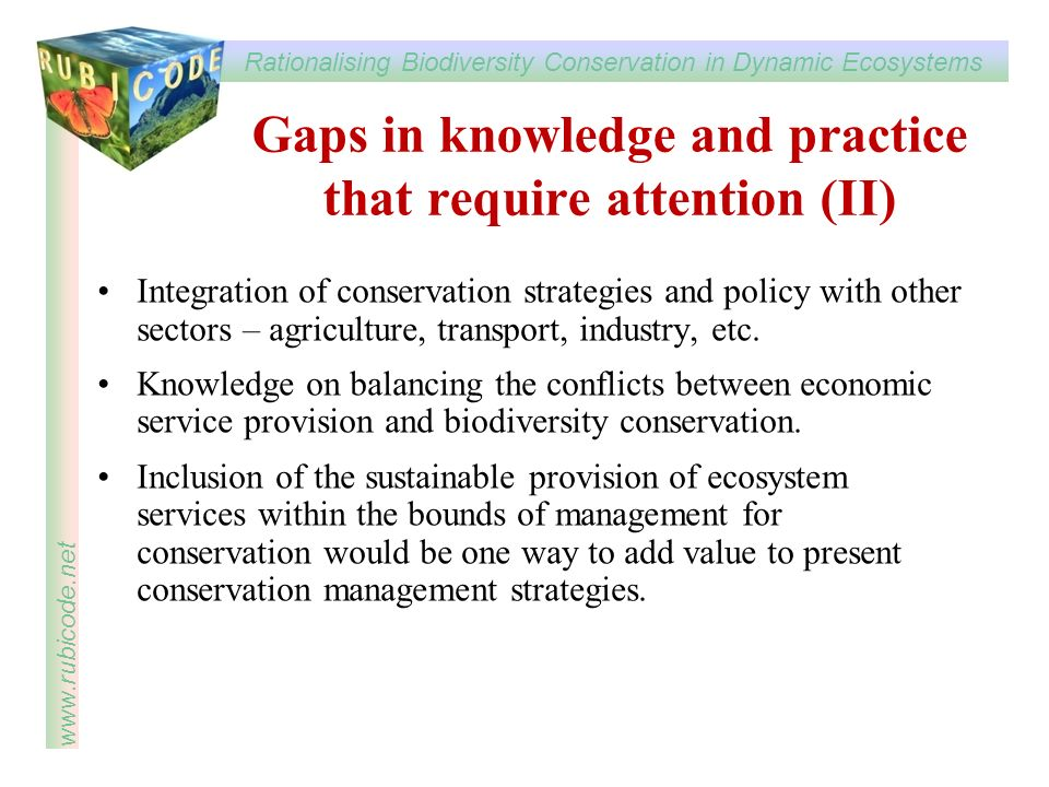 Gaps in knowledge and practice that require attention (II)