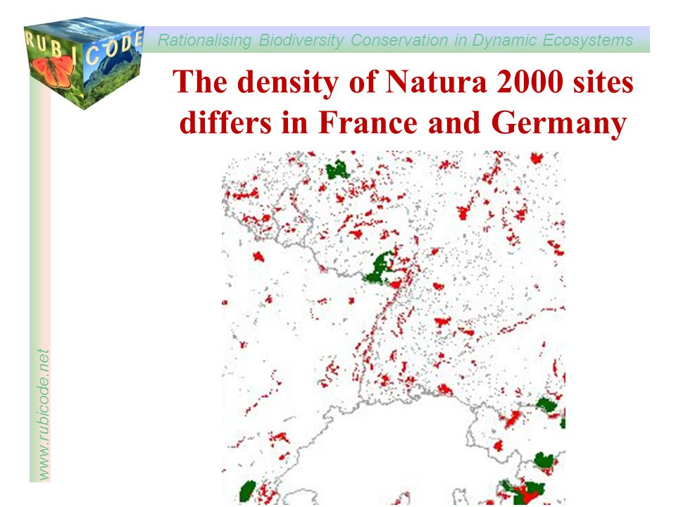 The density of Natura 2000 sites differs in France and Germany