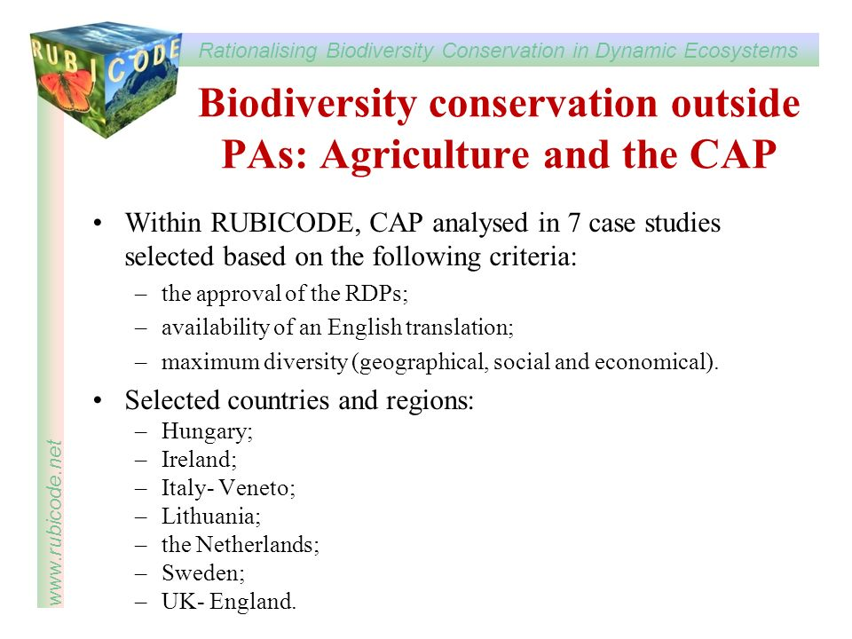 Biodiversity conservation outside PAs: Agriculture and the CAP