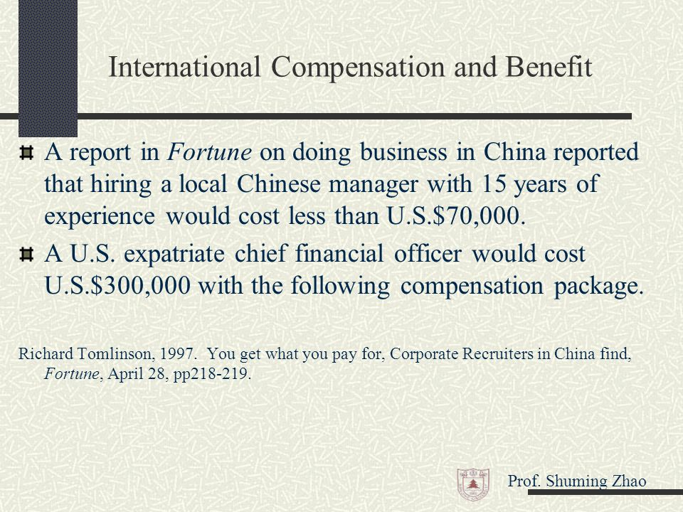 "compensation and benefits of china I've seen chinese firms offer very low entry-level salaries, relative to those in the   ""chinese companies don't see the benefit of experience in."