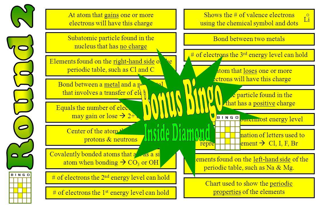 Round 2 Bonus Bingo Inside Diamond