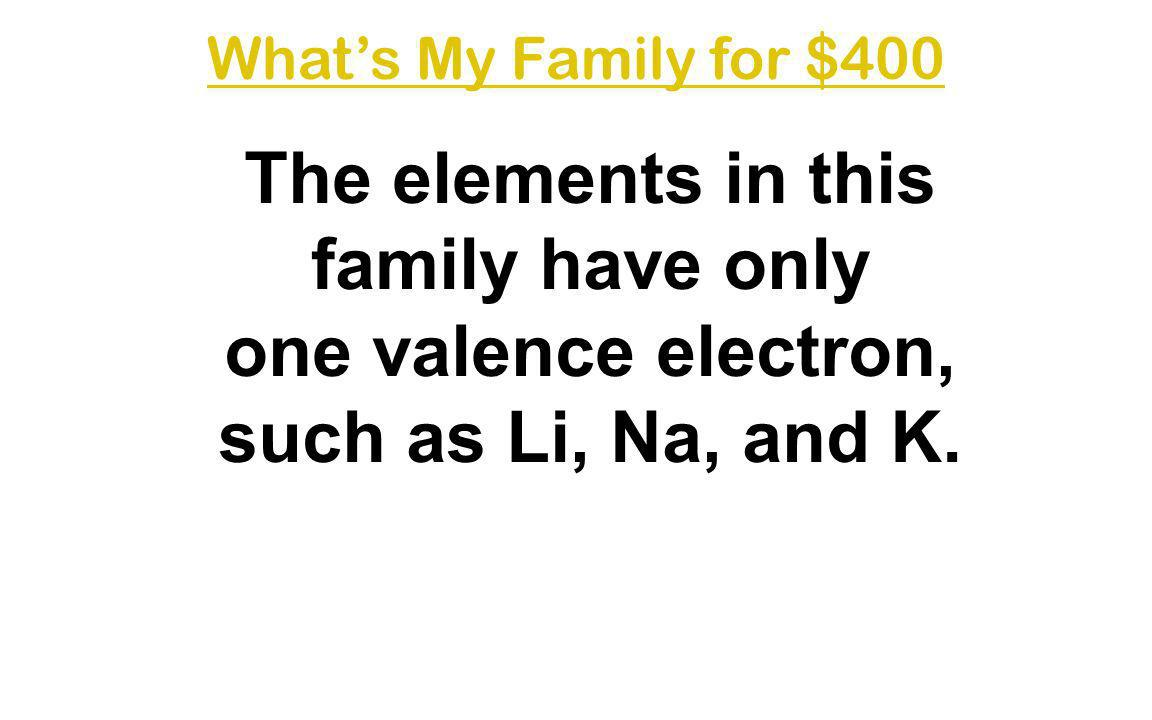 What's My Family for $400 The elements in this family have only one valence electron, such as Li, Na, and K.