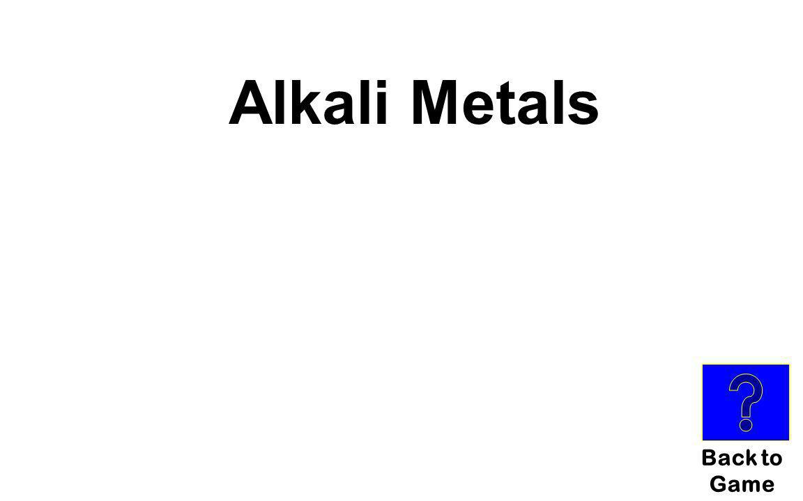 Alkali Metals Back to Game