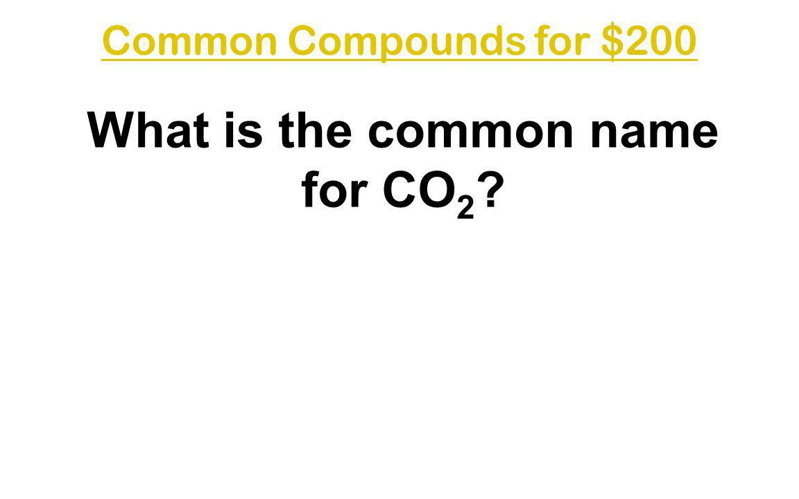 What is the common name for CO2