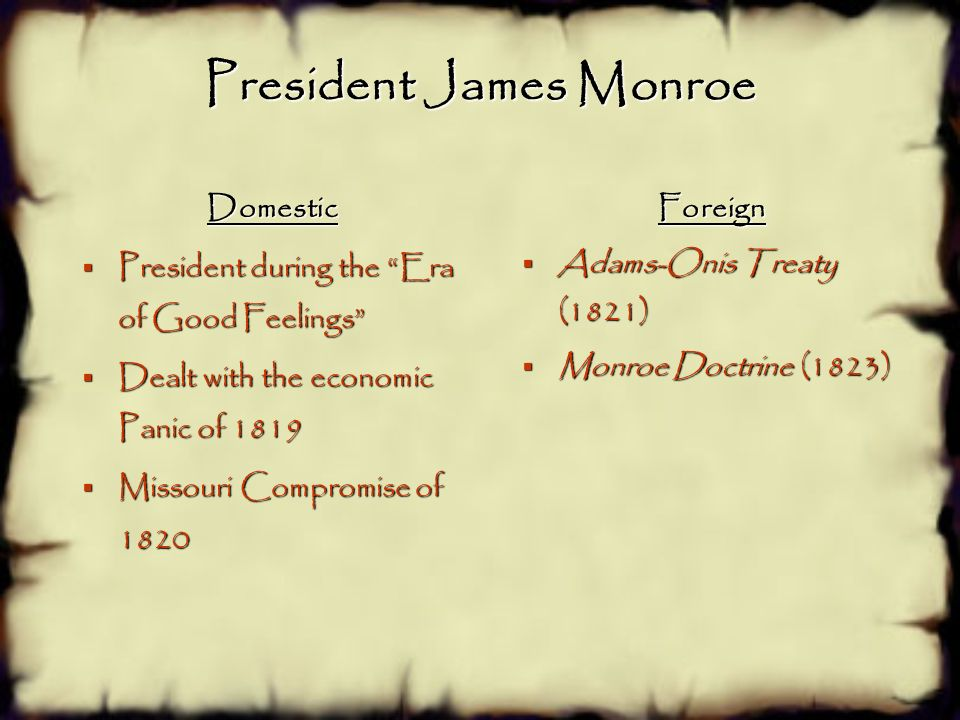 james monroe and postwar nationalism America's international nationalism henry r nau  against the view of  president monroe and others (such as jefferson), that the monroe  james k  polk, a slaveholder like jefferson, also favored a broader franchise  imperium  but to design a postwar order that rejected power politics altogether.