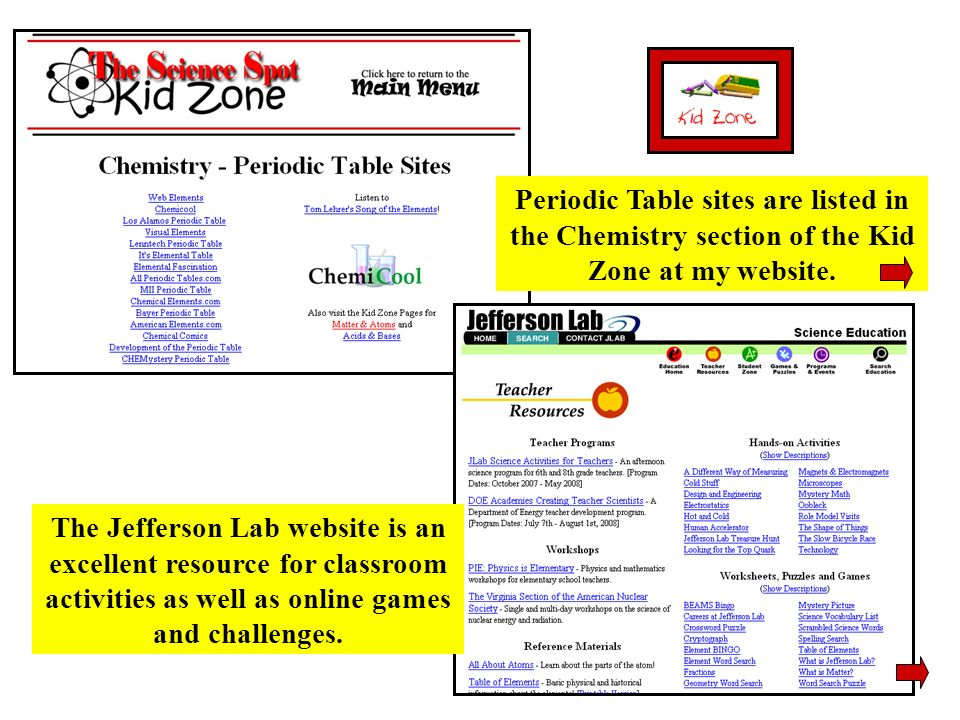 Periodic Table sites are listed in the Chemistry section of the Kid Zone at my website.
