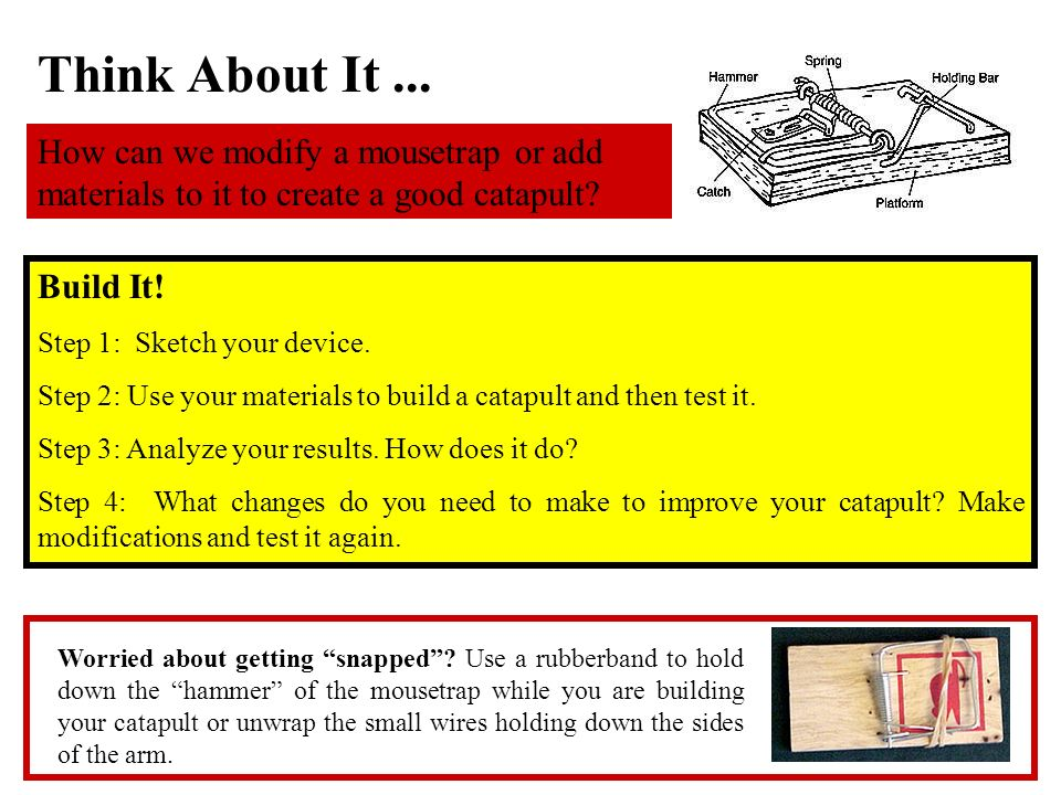 Think About It ... How can we modify a mousetrap or add materials to it to create a good catapult Build It!