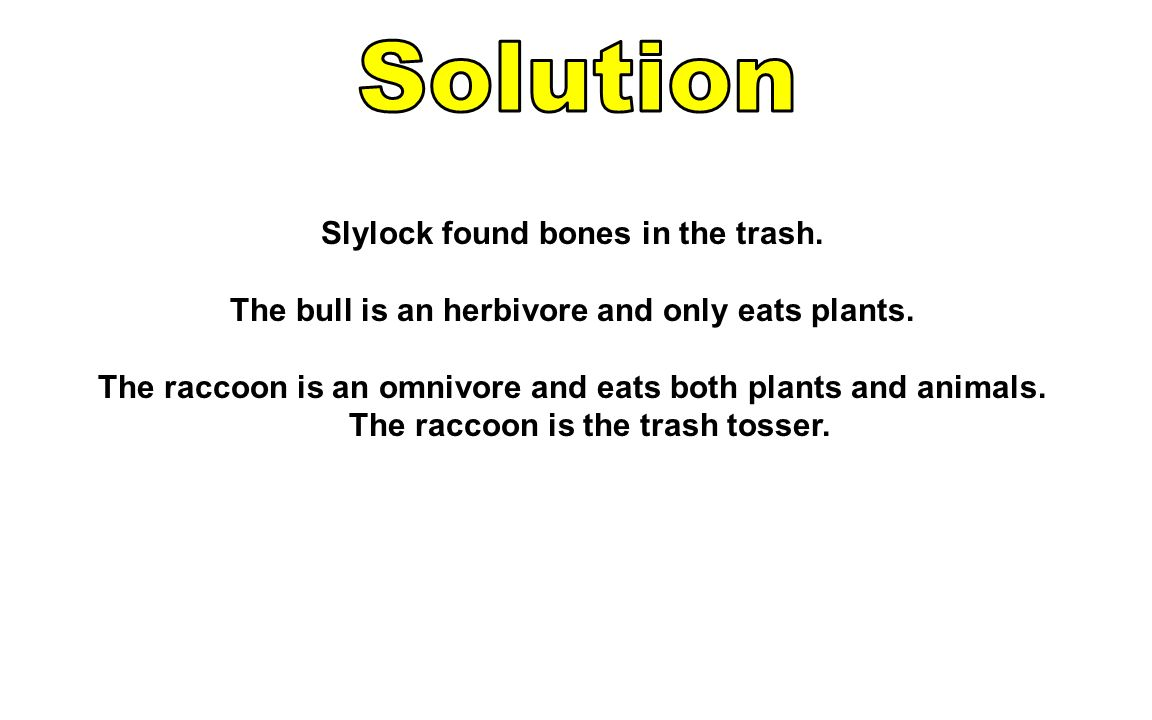 Solution Slylock found bones in the trash.
