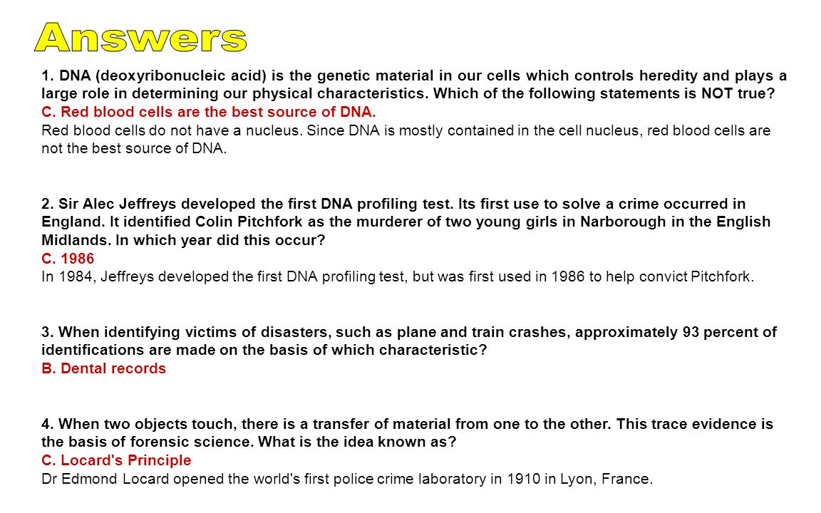 """the deoxyribonucleic acid as a very useful in the world of forensic science Crime scene genetics: transforming forensic science through (deoxyribonucleic acid) forensic labs across the world could create dna """"fingerprints."""