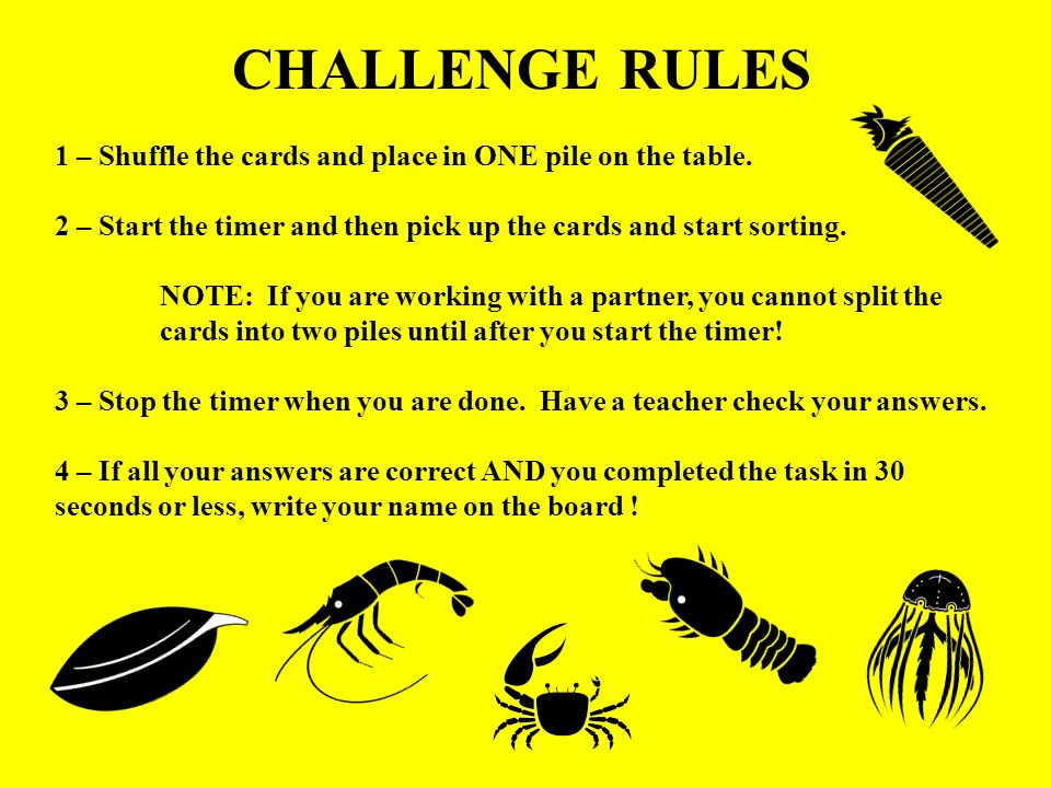 CHALLENGE RULES 1 – Shuffle the cards and place in ONE pile on the table. 2 – Start the timer and then pick up the cards and start sorting.
