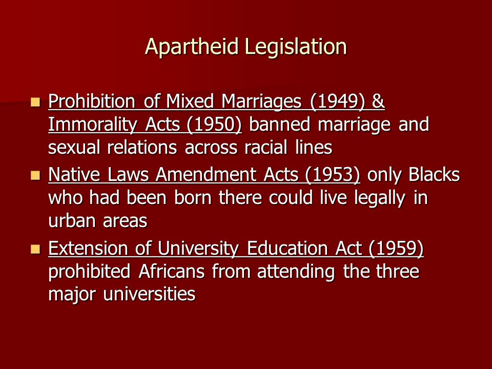 Apartheid Legislation