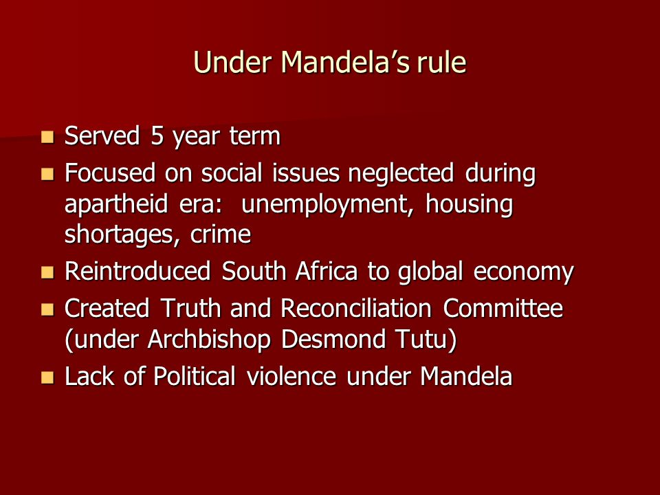 Under Mandela's rule Served 5 year term
