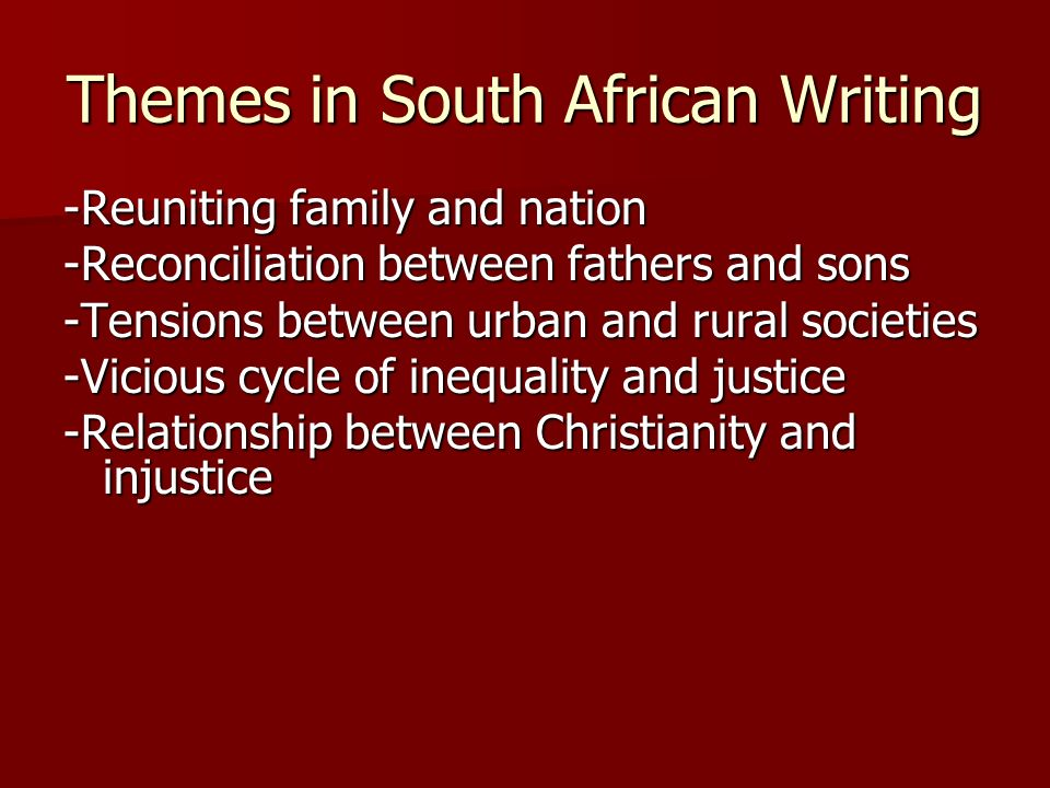 Themes in South African Writing