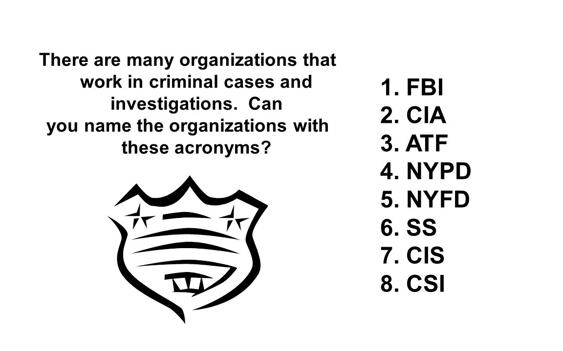 you name the organizations with these acronyms